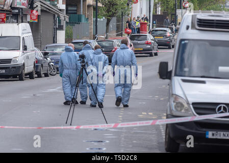 London, United Kingdom. 24th Apr, 2019. A murder investigation has been launched following a stabbing in north London. Police were called by the London Ambulance Service (LAS) at 21:07hrs on Tuesday, 23 April to High Street, NW10, following reports of a stabbing. Officers attended and a 21-year-old man was found suffering from stab wounds. He was taken to hospital by London Ambulance Service where he was pronounced dead at 02:47BST on Wednesday, 24 April 2019. Credit: Peter Manning/Alamy Live News - Stock Image