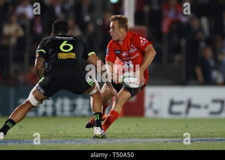 Tokyo, Japan. 19th Apr, 2019. Hayden Parker (Sunwolves) Rugby : 2019 Super Rugby match between Sunwolves 23-29 Hurricanes at Prince Chichibu Memorial Stadium in Tokyo, Japan . Credit: YUTAKA/AFLO SPORT/Alamy Live News - Stock Image