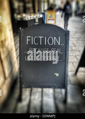 Fiction or fact. Is real life terrible! - Stock Image