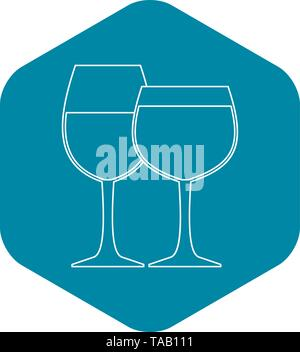 Two wine glasses icon, outline style - Stock Image
