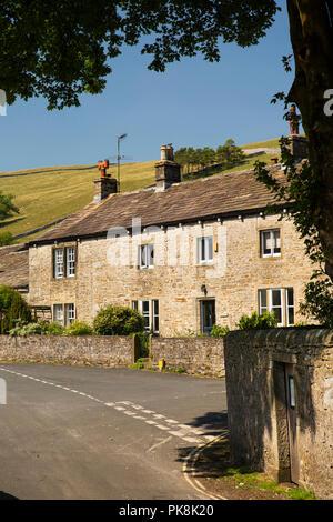 UK, Yorkshire, Wharfedale, Kettlewell, Far Lane, old stone-built Vicarage - Stock Image