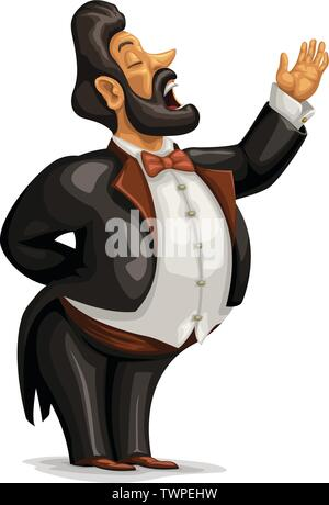 fat opera singer character on white - Stock Image