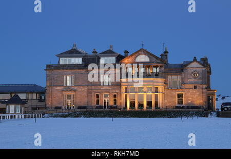 Royal and Ancient Clubhouse at dusk St Andrews Fife Scotland   February 2019 - Stock Image