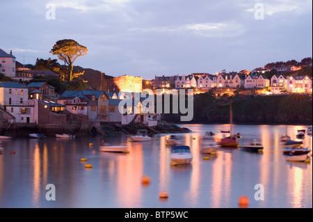 Pol Ruan, Fishing Town, at Dusk, Cornwall, UK - Stock Image