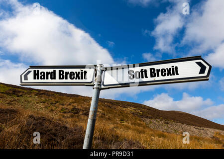 Soft brexit, Hard Brexit, EU, Brexit, Brexit plan, Chequers, England, leaving EU, EU regulations, EU tariffs, leave, remain, remoaners, hard, soft, UK - Stock Image