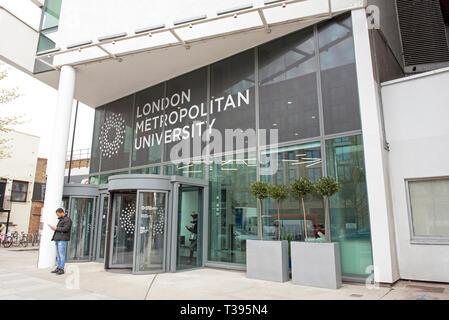 Man outside the London Metropolitan University Holloway Road, London Borough of Islington, England Britain UK - Stock Image