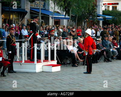 Sir Francis Richards, governor of Gibraltar, holding the keys to the gates, Ceremony Of The Keys,  Casemates Square, 2003 - Stock Image