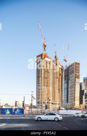 Israel, Tel Aviv - 26 September 2018: High rise buildings in construction - Stock Image
