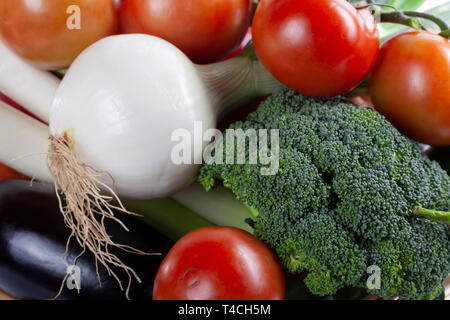 A pile of fresh organic vegetables. - Stock Image