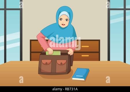 A vector illustration of Muslim Girl Putting Book Inside a Bag - Stock Image