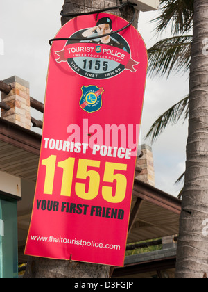 A Tourist Police sign in Thailand - Stock Image