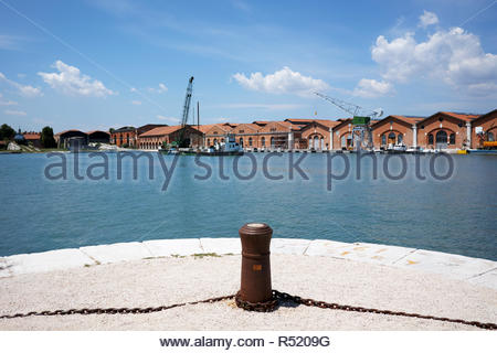 Buildings and workshops facing the dockyard at Arsenale: Venice. - Stock Image