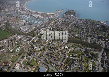 An aerial view of the Dorset seaside town of Weymouth - Stock Image
