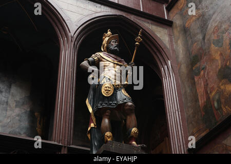 Coloured statue of Roman consul Lucius Munatius Plancus in the atrium of the Rathaus Basel in Basel, Switzerland. - Stock Image