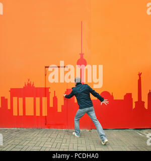 tourism,city trip,berlin,mural - Stock Image