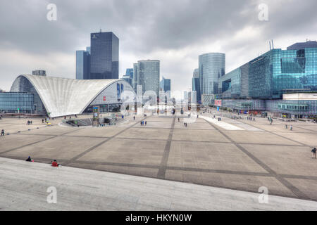 PARIS - APRIL 6:  Business district La Defense is situated at the end of Historical Axis, which starts at the Louvre - Stock Image