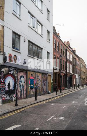 Georgian terraced buildings in Princelet Street, Spitalfields, London, England, UK - Stock Image
