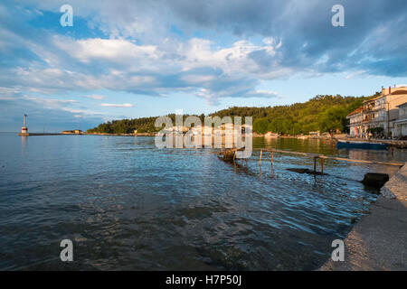 Beautiful sunset at the Port in the Town of Limnas in Thassos, Greece. - Stock Image