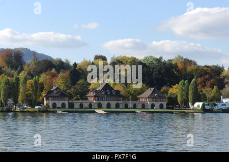 The public lake Zürich bath in Küsnacht at the 'golden coast' where the rich people are living - Stock Image