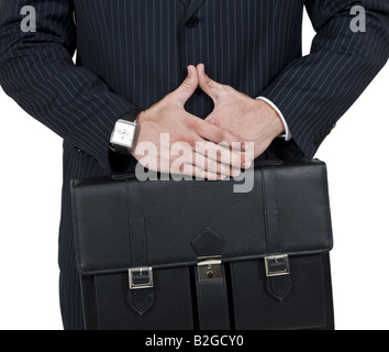 man with leather bag on isolated background - Stock Image