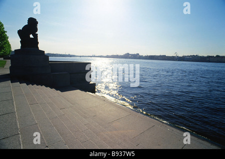 Sculpture of Manchurian lion Shi Tzsa on the bank of the Neva River in St Petersburg - Stock Image