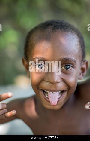 Portrait of a Papuan young boy, Ambunti, Upper Sepik, Papua New Guinea - Stock Image