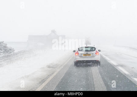 A66, 17 March 2018: UK weather - white out - heavy snow and icy conditions created very difficult driving conditions - Stock Image