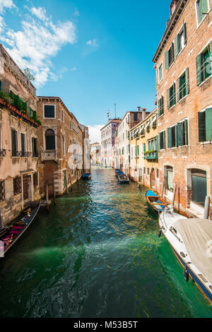 a beautiful canal view in the gorgous city of venice last summer in the holidays - Stock Image