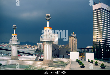Barcelona Park de l Espanya Industrial Barcelona former textil factory thunderstorm - Stock Image