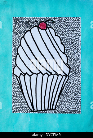 Cup cake. Child's art - Stock Image