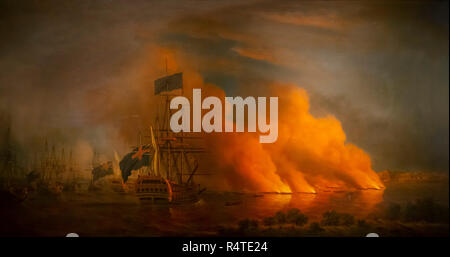 French Fire Rafts attacking the English off Quebec, 28th June 1759, - Stock Image