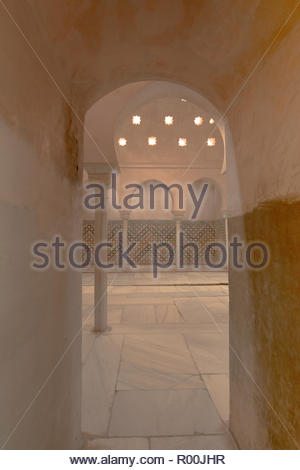Doorway and tiled floor in Spain - Stock Image