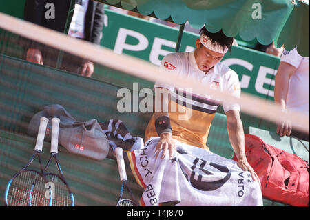 Roquebrune-Cap-Martin, France. 17th Apr, 2019. Kei Nishikori (JPN) Tennis : Men's Singles 2nd Round match during Monte Carlo Masters at Monte Carlo Country Club in Roquebrune-Cap-Martin, France . Credit: Itaru Chiba/AFLO/Alamy Live News - Stock Image