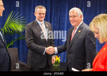 U.S. Secretary of State Rex Tillerson meets with Costa Rican Foreign Minister Gonzalez Sanz during the Conference - Stock Image