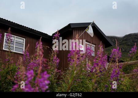 STF Vakkotavare mountain hut, Kungsleden trail, Lapland, Sweden - Stock Image