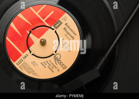 An original 1975 copy of the song Bohemian Rhapsody from the album A Night at the Opera by the band Queen written by Freddie Mercury - Stock Image