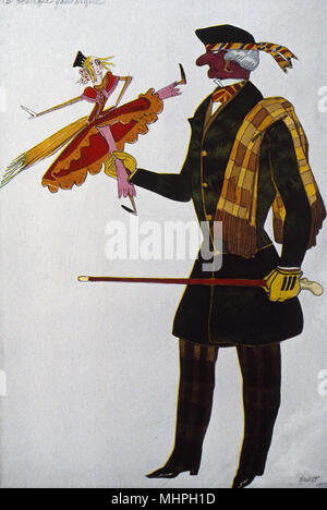 Costume design by Bakst for the ballet La Boutique Fantasque (The Magic Toyshop), with music by Massine, The Englishman (Snob or Dandy), production by Diaghilev's Ballets Russes.     Date: 1917 - Stock Image