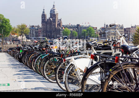 Bicycle parking in Amsterdam, Netherlands - Stock Image