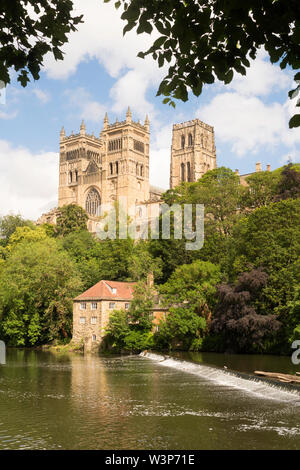 Durham cathedral and old fulling mill seen across the river Wear in Durham City, England, UK - Stock Image