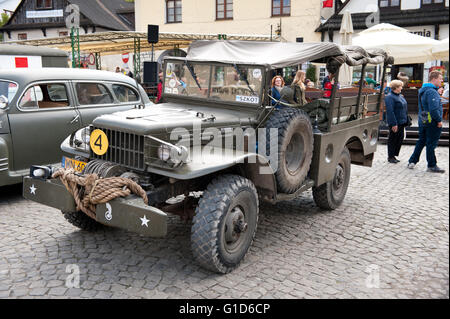 Army Willys Rally VI military vehicles from World War II in Kazimierz Dolny, antique cars event at the Market square, - Stock Image