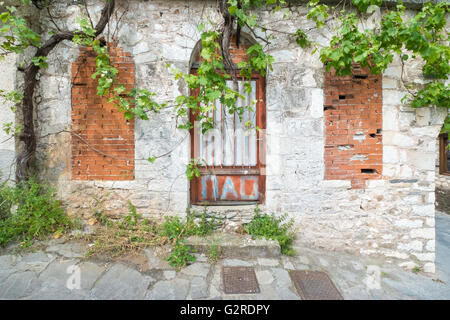 Front view of a traditional Greek house. - Stock Image