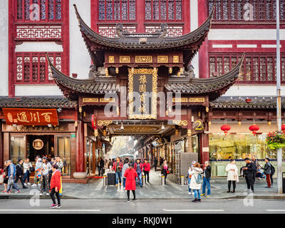 29 November 2018: Shanghai, China - Gateway to the Old Town shopping area, a major visitor attraction. - Stock Image