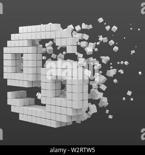 cancer zodiac sign shaped data block. version with white cubes. 3d pixel style vector illustration. suitable for blockchain, technology, computer and - Stock Image