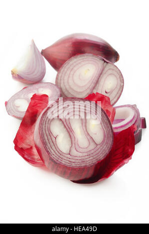Sliced red onion on white background - Stock Image