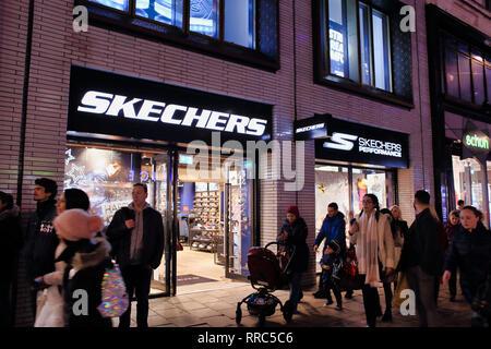 Skechers shoe shop on Oxford Street, London, England, UK - Stock Image