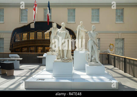 Marble Statues of Navigators and Admirals,  National Maritime Museum, Greenwich, London, England, UK, Europe, - Stock Image