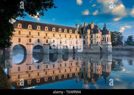 First light of morning on Chateau Chenonceau, Indre-et-Loire, Centre, France - Stock Image