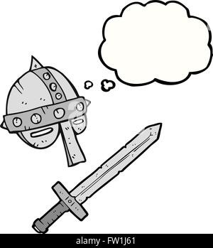 freehand drawn thought bubble cartoon medieval helmet - Stock Image