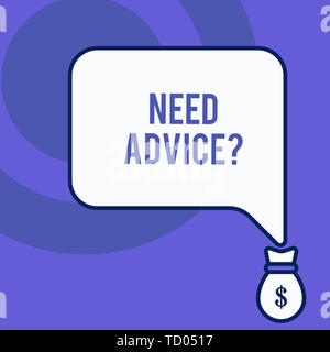 Writing note showing Need Advice Question. Business concept for Asking someone if he want recommendations or guidance Front view speech bubble pointin - Stock Image
