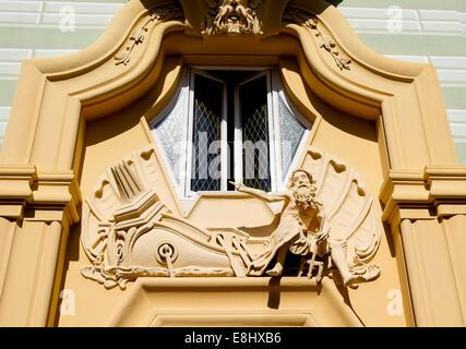 1920s art deco decoration on a building in Sestri Levante, Liguria, Italy - Stock Image